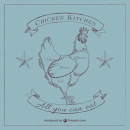 Diagrama de pollo para carnicería