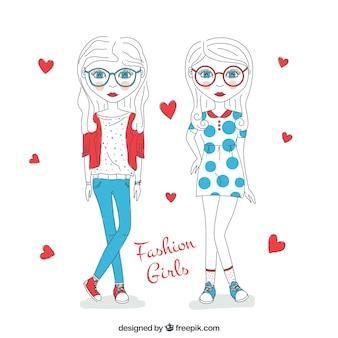 Dibujadas a manos chicas de moda