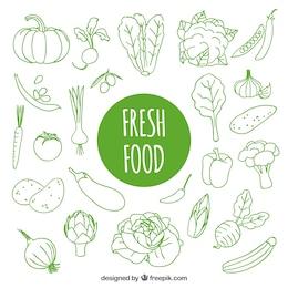 Dibujado a mano alimentos frescos