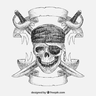 Dibujado a mano calavera pirata