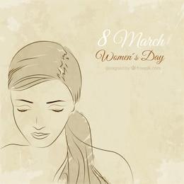 Dibujado a mano cara de mujer para el día de la Mujer