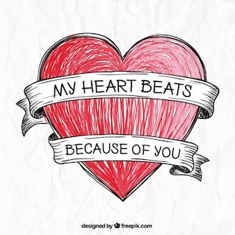 Dibujado a mano corazón romántico