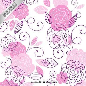 Dibujado a mano de flores de color rosa de fondo