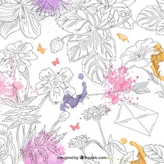 Dibujado a mano de fondo floral con toques de acuarela
