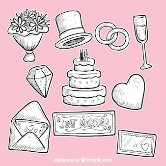 Dibujado a mano elementos de boda