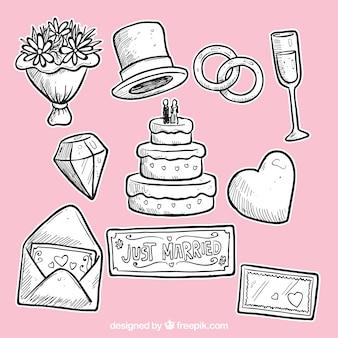 Dibujado a mano elementos de la boda