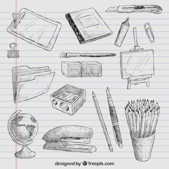 Dibujado a mano elementos de la escuela