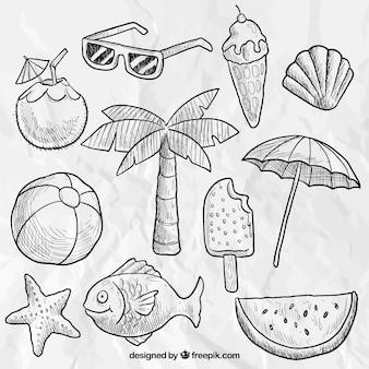 Dibujado a mano elementos de playa