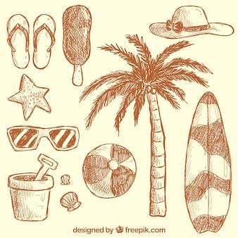 Dibujado a mano elementos de verano