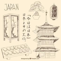Dibujado a mano elementos japoneses