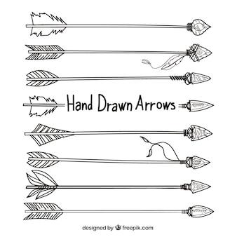 Dibujado a mano flechas