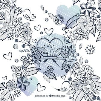Dibujado a mano flores y pájaros