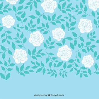 Dibujado a mano fondo de rosas blancas