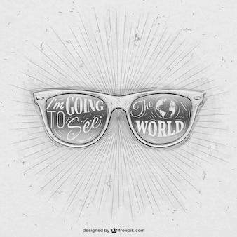 Dibujado a mano gafas de sol retro