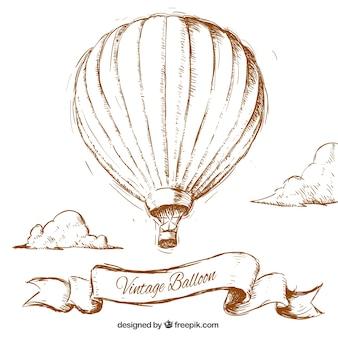 Dibujado a mano globo aerostático vintage