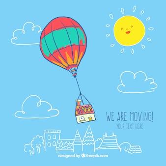 Dibujado a mano globo de aire caliente con una casa