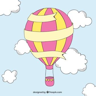Dibujado a mano globo de aire caliente