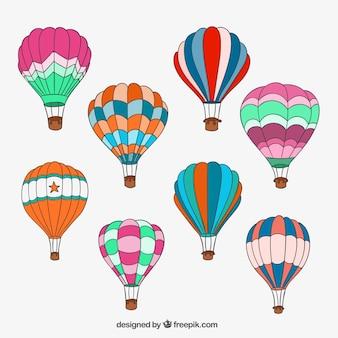 Dibujado a mano globos de aire caliente