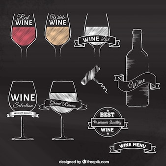 Dibujado a mano insignias vino