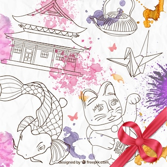 Dibujado a mano la cultura japonesa