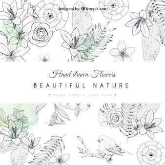 Dibujado a mano la tarjeta de las flores