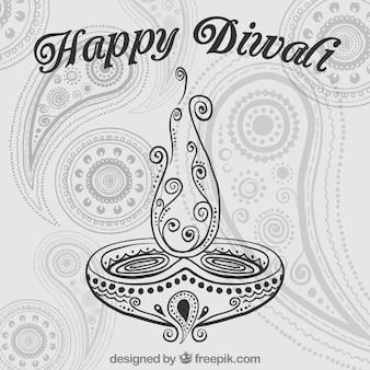 Dibujado a mano la tarjeta Diwali feliz