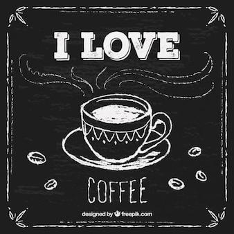 Dibujado a mano la taza de café en la pizarra