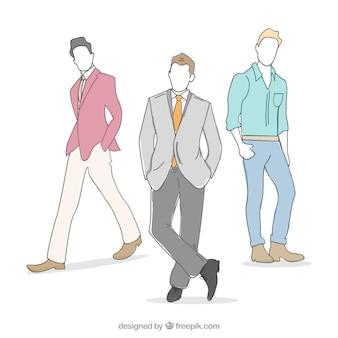 Dibujado a mano modelos masculinos