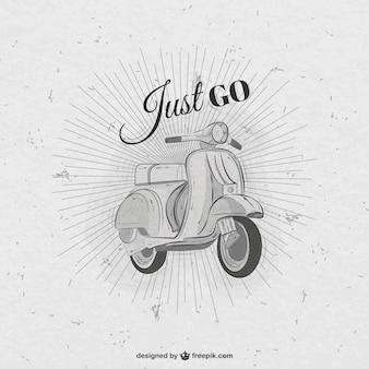 Dibujado a mano moto retro