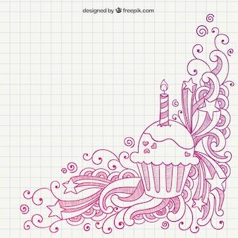 Dibujado a mano muffin de cumpleaños