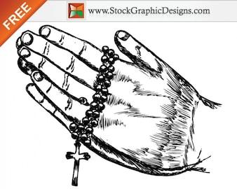 Dibujado a mano Orar Ilustración Manos vectoriales sin
