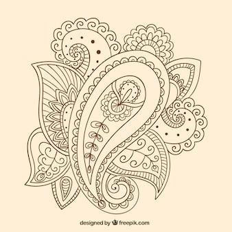 Dibujado a mano ornamento de Paisley