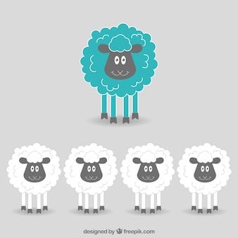 Dibujado a mano ovejas divertidas