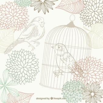 Dibujado a mano pájaros, flores y una jaula de pájaros