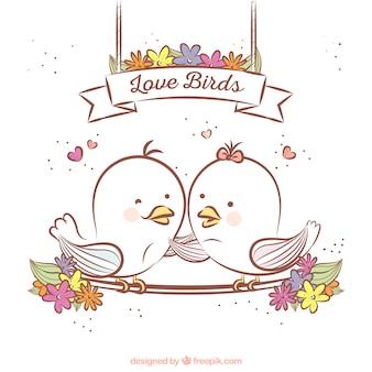 Dibujado a mano pájaros del amor