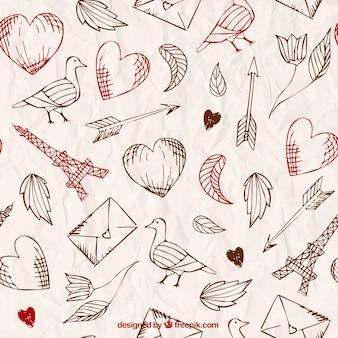 Dibujado a mano patrón de amor en estilo retro