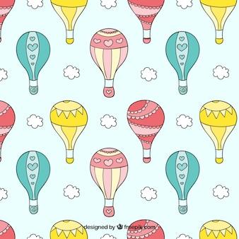 Dibujado a mano patrón de globos de aire caliente