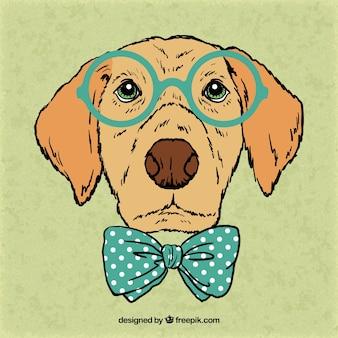 Dibujado a mano perro intelectual