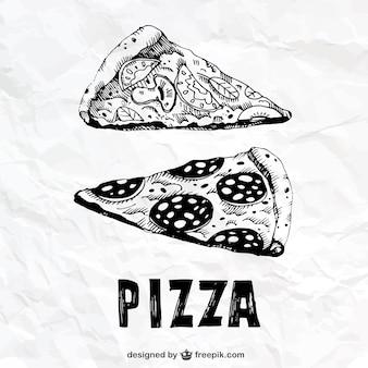 Dibujado a mano porciones de pizza