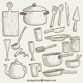 Dibujado a mano utensilios de cocina