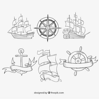Dibujado a mano viejos barcos