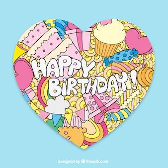 Dibujado tarjeta de cumpleaños feliz de la mano en el estilo lindo