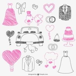 Dibujitos de boda de color rosa y negro