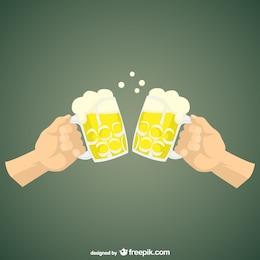 Dibujo brindando con cerveza