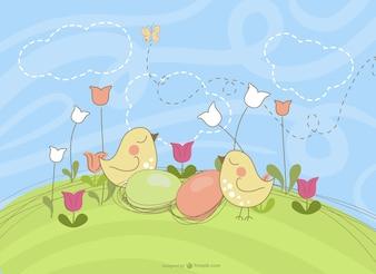Dibujo con pájaros para Pascua