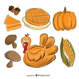 Dibujo de comida de Acción de Gracias
