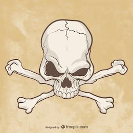 Dibujo de cráneo y huesos