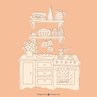 Dibujo de muebles de cocina