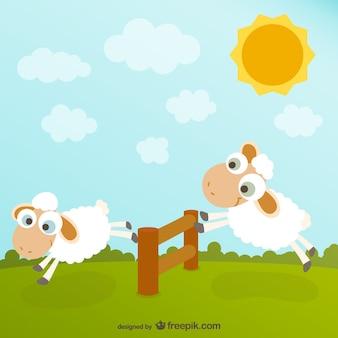 Dibujo de ovejas simpáticas