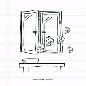 Dibujo de ventana retro